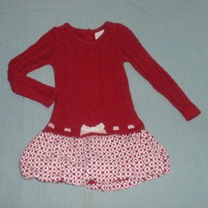 Heirlooms Polly Flinders Red Sweater Dress Bow 2t